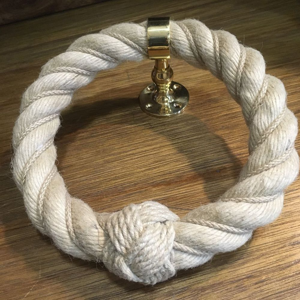 Natural Worming Rope Towel Holder